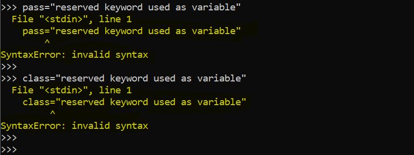 python reserved keywords