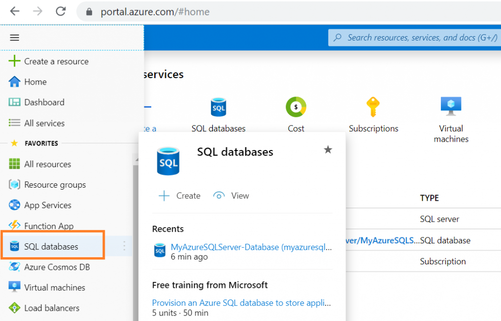 Azure Portal Navigation towards SQL databases