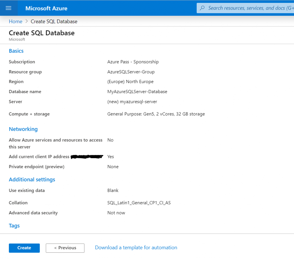 Create SQL Server Database in Azure