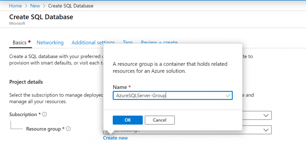 Microsoft Azure - Create A SQL Server Database Resource Group