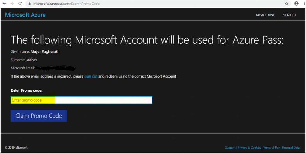 Microsoft Azure Pass - Promo Code