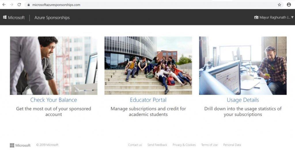 Microsoft Azure Sponsorships Portal