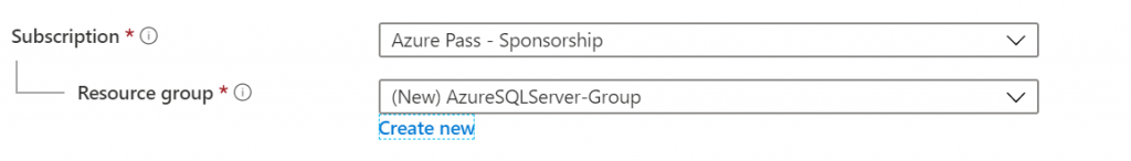 New SQL Server Azure Resource Group