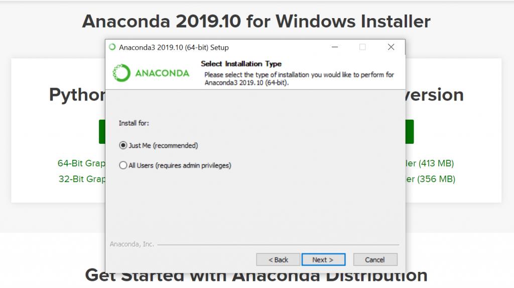 Python Anaconda Installation type
