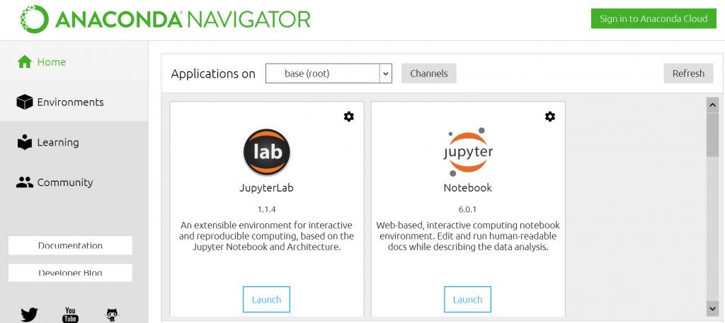 Python Anaconda Navigator Application