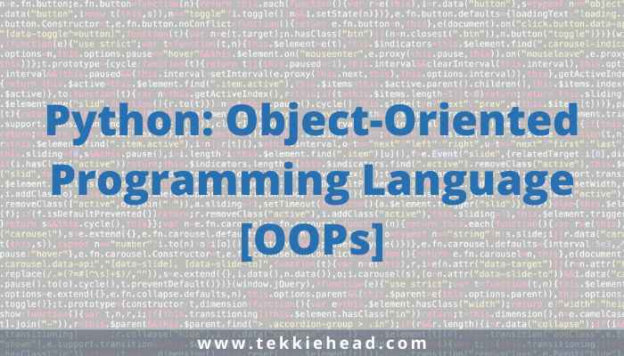 Python_ Object-Oriented Programming Language [OOPs]