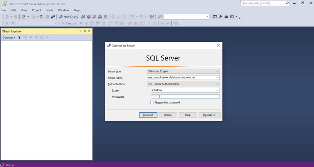SQL Server Management Studio to connect Azure SQL Database