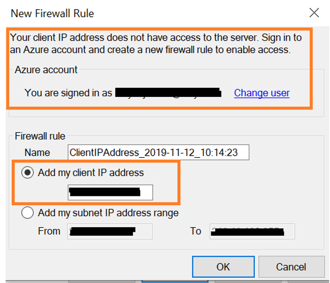 Set Firewall rule to connect SQL Database in Azure